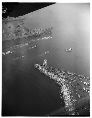 "Arrival views of USS ""Missouri"" -- Long Beach Harbor, 1951"