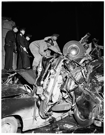 Runaway box car vs. auto train in crossing accident at 25th and Alameda, 1951