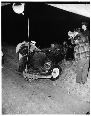 Car over cliff into surf (10 miles south of Oxnard), 1951