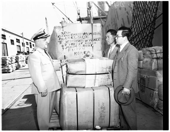 Shipment of clothing bound for Korean natives, 1951