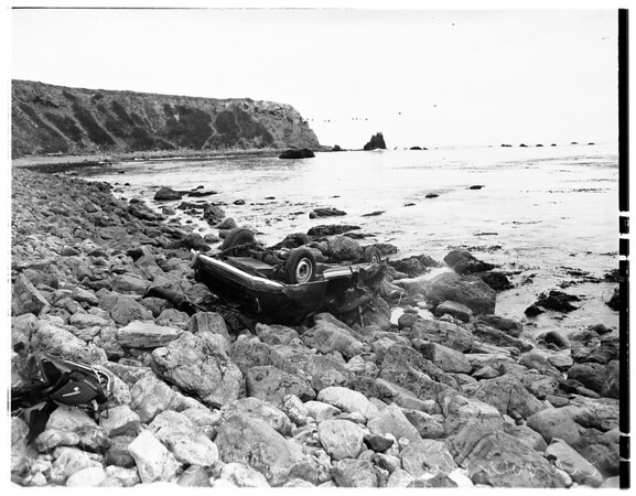 Car over cliff... Palos Verdes Drive and Point Picante, 1951