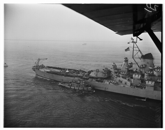 "Arrival views of USS ""Missouri"" -- Long Beach Harbor, 1951"