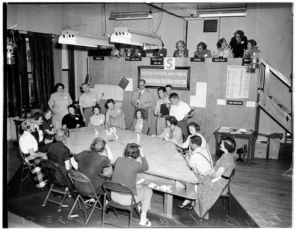 Filter board...Pasadena -- civilian defense, 1951