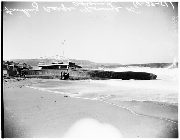 Grounded fishing barge...Redondo Beach, 1951