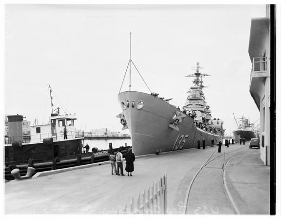 Sailor almost misses boarding Cruiser Los Angeles, 1951