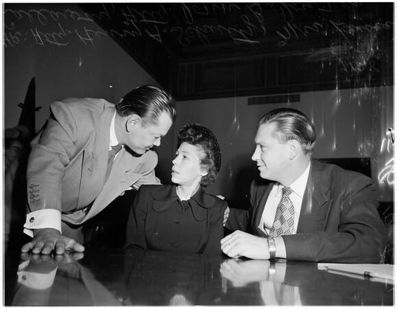 Murder, woman accused of murdering husband, 1951