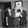 Joe E. Lewis gets award (Mocombo), 1951