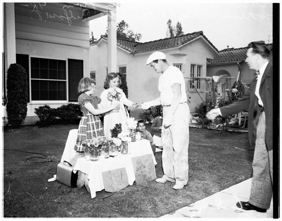 Girls selling flowers for General MacArthur Memorial, 1951