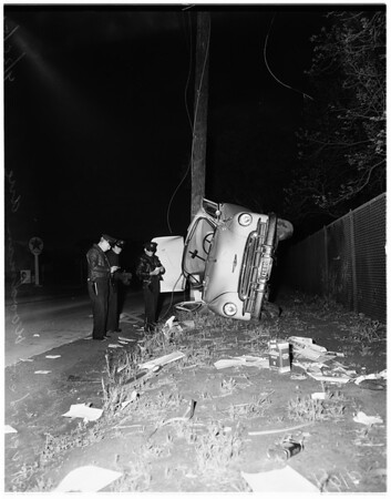 Car around power line...Riverside Drive and woodman Avenue, 1951
