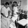 Traffic victim at Valley Hospital in Van Nuys, 1951