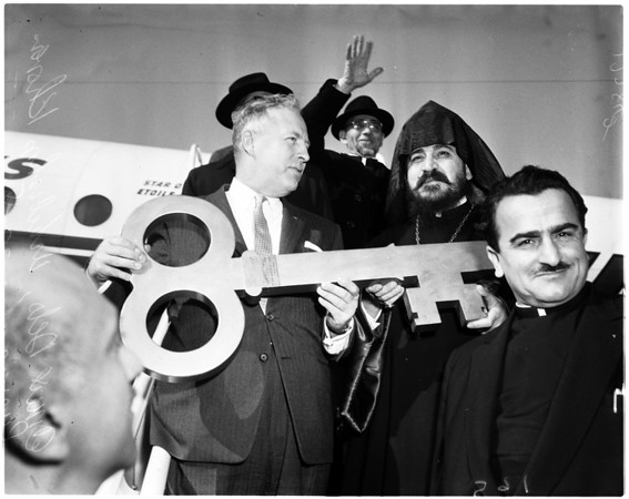 Armenian churchman arrives, 1958