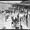 Record beach crowd at Santa Monica and Long Beach, 1957