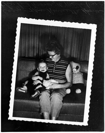 Mother revives baby after mucous block of windpipe during croup attack, 1958