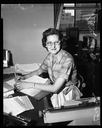 New Santa Fe Springs councilwoman at L.A. City Hall job, 1957