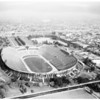 Aerial views of Los Angeles Memorial Coliseum, 1957