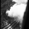 Aerial shots of Griffith Park brush fire, 1957