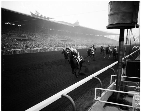 Horses -- race -- Santa Anita feature, 1957