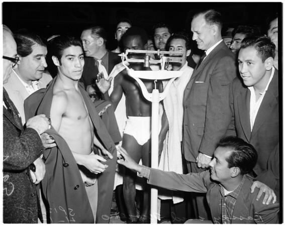 Boxing - weigh in for Hogan Kid Bassey, Pajarito Moreno, 1958