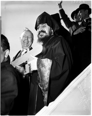 Armenian churchman arrives, 1958
