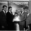 Fish -- Burns Memorial Trophy for largest trout at Crowley Lake -- ceremony at City Hall, 1958