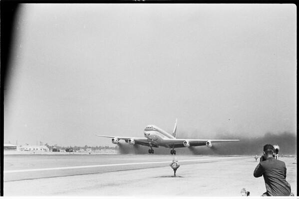 Jet plane -- DC 8 first take off, 1958