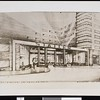 Architect's sketch of the main entrance to Hotel Statler