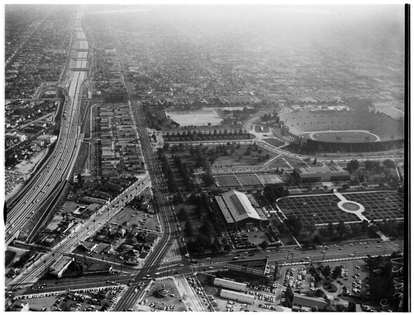 Aerial views of Los Angeles Memorial Coliseum, 1957