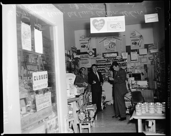 Store bombing at 246 East Broadway in Long Beach, 1957