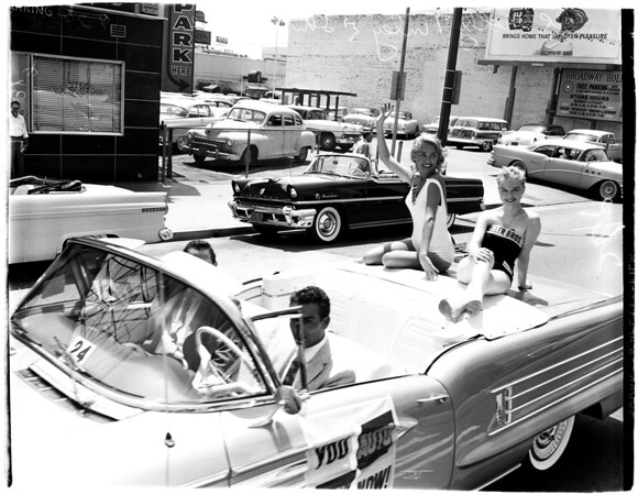 """You Auto Buy Now"" parade in Hollywood, 1958"