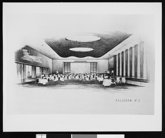 Architect's concept of the Ballroom No.2 at the Los Angeles Statler Hotel
