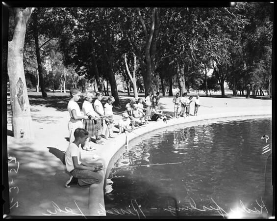 Kids fishing in Reseda Lake, 1957
