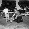 Football - Rams donate football to kid fan, 1957