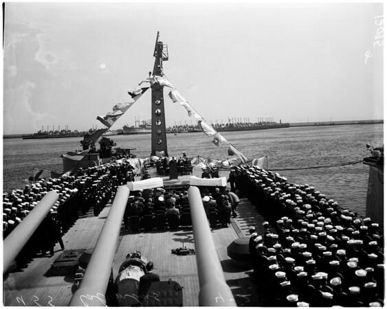 Silver Service to USS Columbus at Navy shipyard, 1957