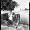 Kids fishing in Reseda Lake, 1957