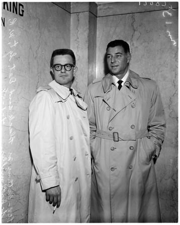 Mickey Cohen jaywalking, 1958
