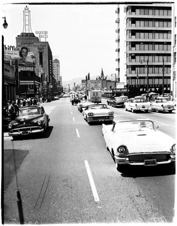 """""""You Auto Buy Now"""" parade in Hollywood, 1958"""