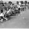Kids' shingle boat regatta (Alondra Lake), 1956