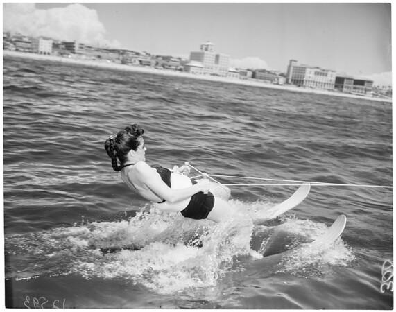Hot Weather Feature (water ski school near Santa Monica Pier), 1959