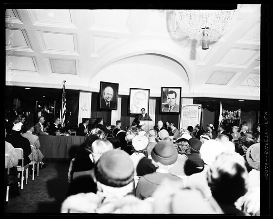 Nixon at Ambassador Hotel and coffee meeting rally, 1961