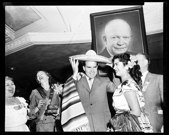 Nixon at Ambassador Hotel and coffee meeting rally, 1961