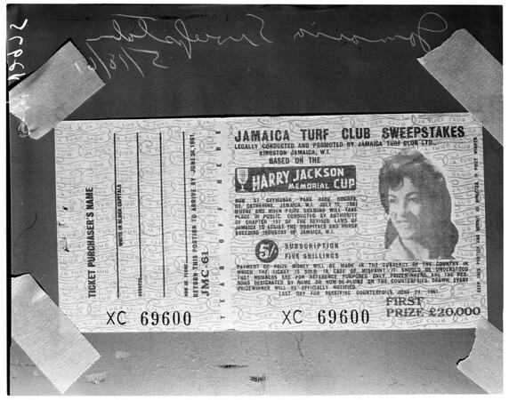 Jamaica sweepstakes tickets, 1961
