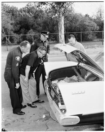 Body of Mrs. Meredith Jean Prestridge found in trunk of car in Inglewood, 1959