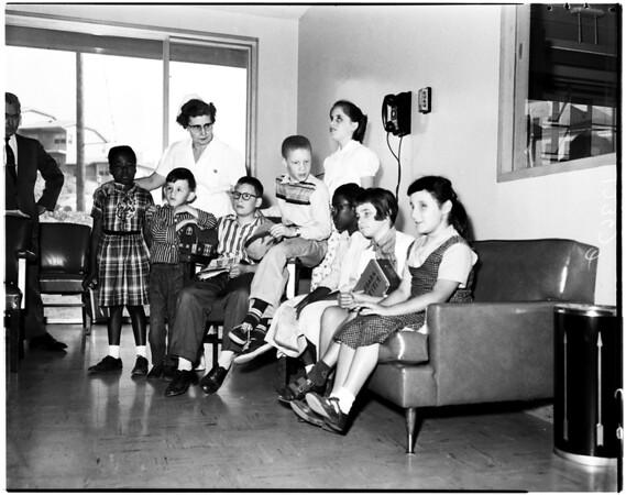 School bus accident at Cimarron and West Adams, 1958