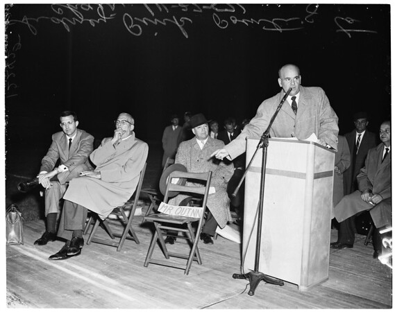 Tax protest meeting at Mt. San Antonio Junior College stadium in Covina, 1957