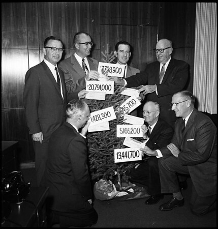 Tax Christmas tree with amount of tax paid by these companies, 1960