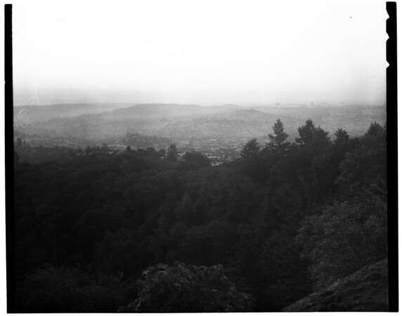 Smog scenes over L.A. from Mount Hollywood (Griffith Park), 1952