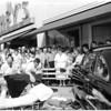 Auto hits bus bench (Santa Monica Boulevard and 4th Street), 1956