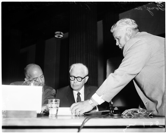 Oil drilling at the Harbor hearing, 1958