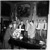 Color guard (board of supervisors) placing wreath, 1958