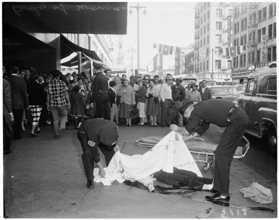 Deaf-mute killed when woman jumped from window of Broadway Department Store, 1958